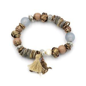 Brown bead line tassel bracelet